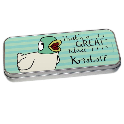 Personalised Duck's Great Idea Pencil Tin