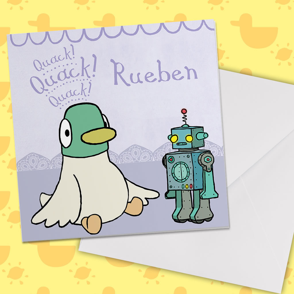 Personalised Duck & Robot Greeting Card