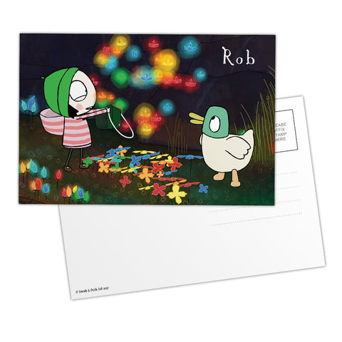 Personalised Sarah & Duck Postcard - Glowing Flowers