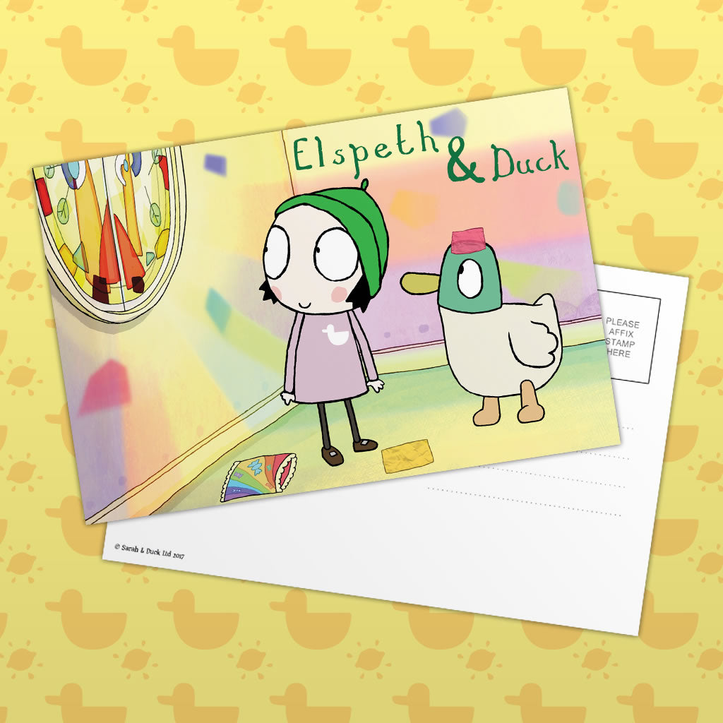 Personalised Sarah & Duck Postcard - Stained Glass