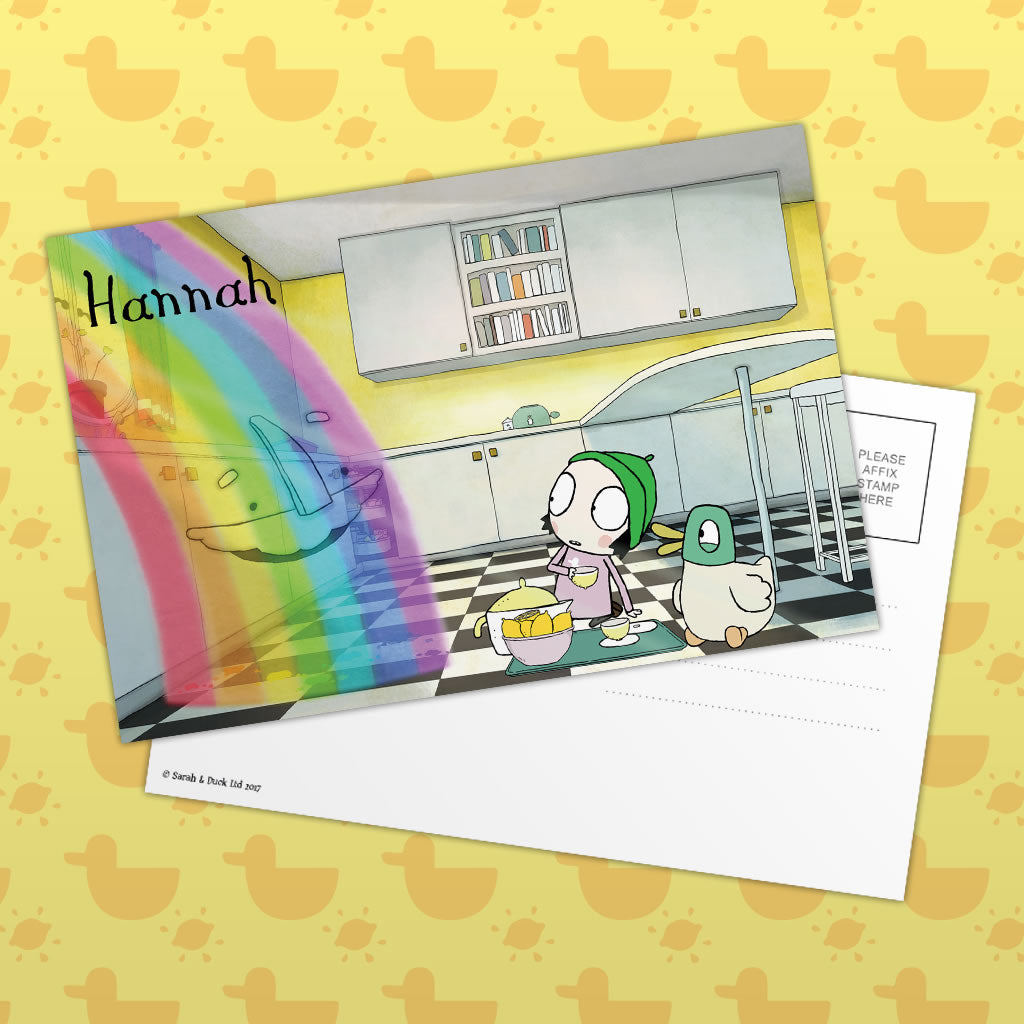 Personalised Sarah & Duck Postcard - Rainbow