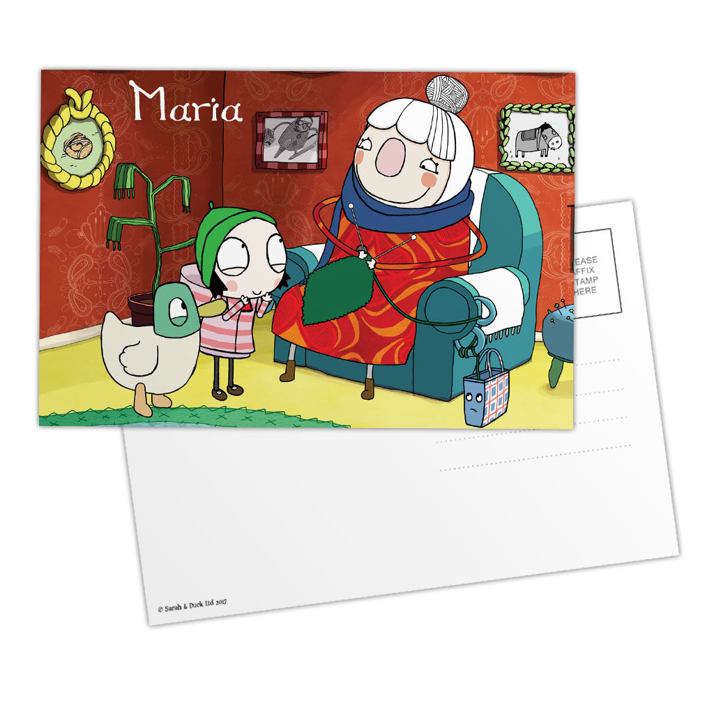 Personalised Sarah & Duck Postcard - Scarf Lady