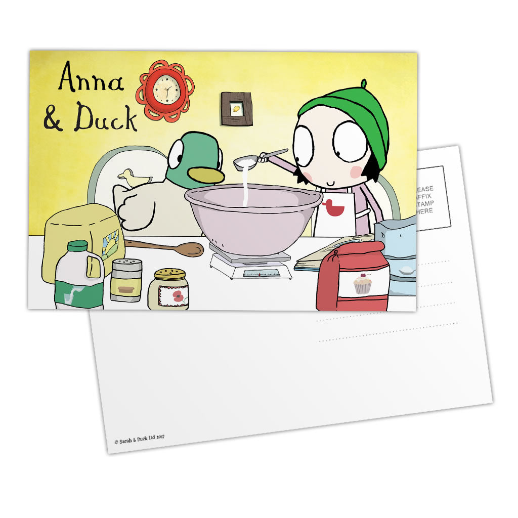 Personalised Sarah & Duck Postcard - Baking