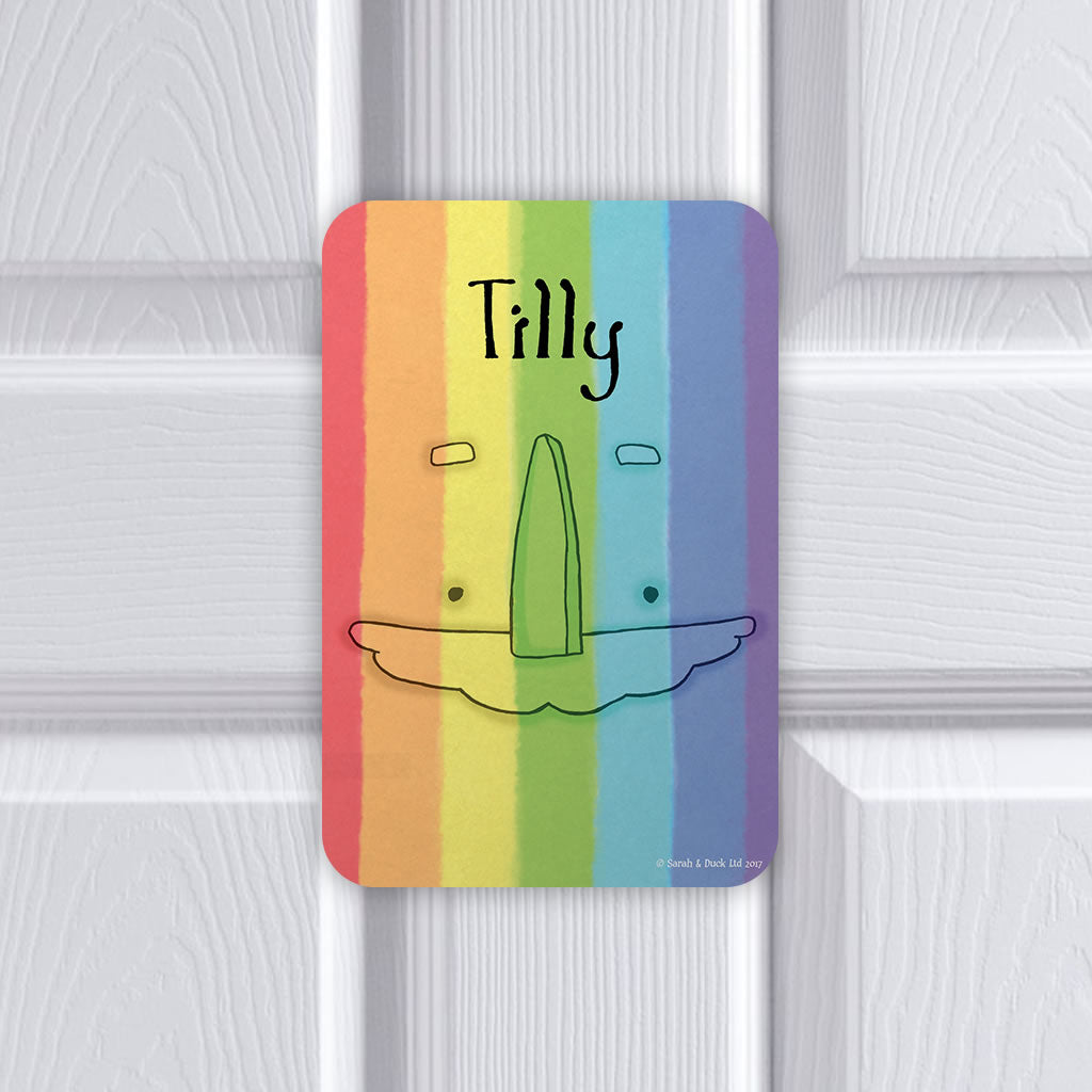 Personalised Rainbow Door Plaque - Portrait