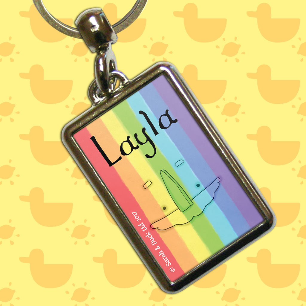 Personalised Rainbow Keyring