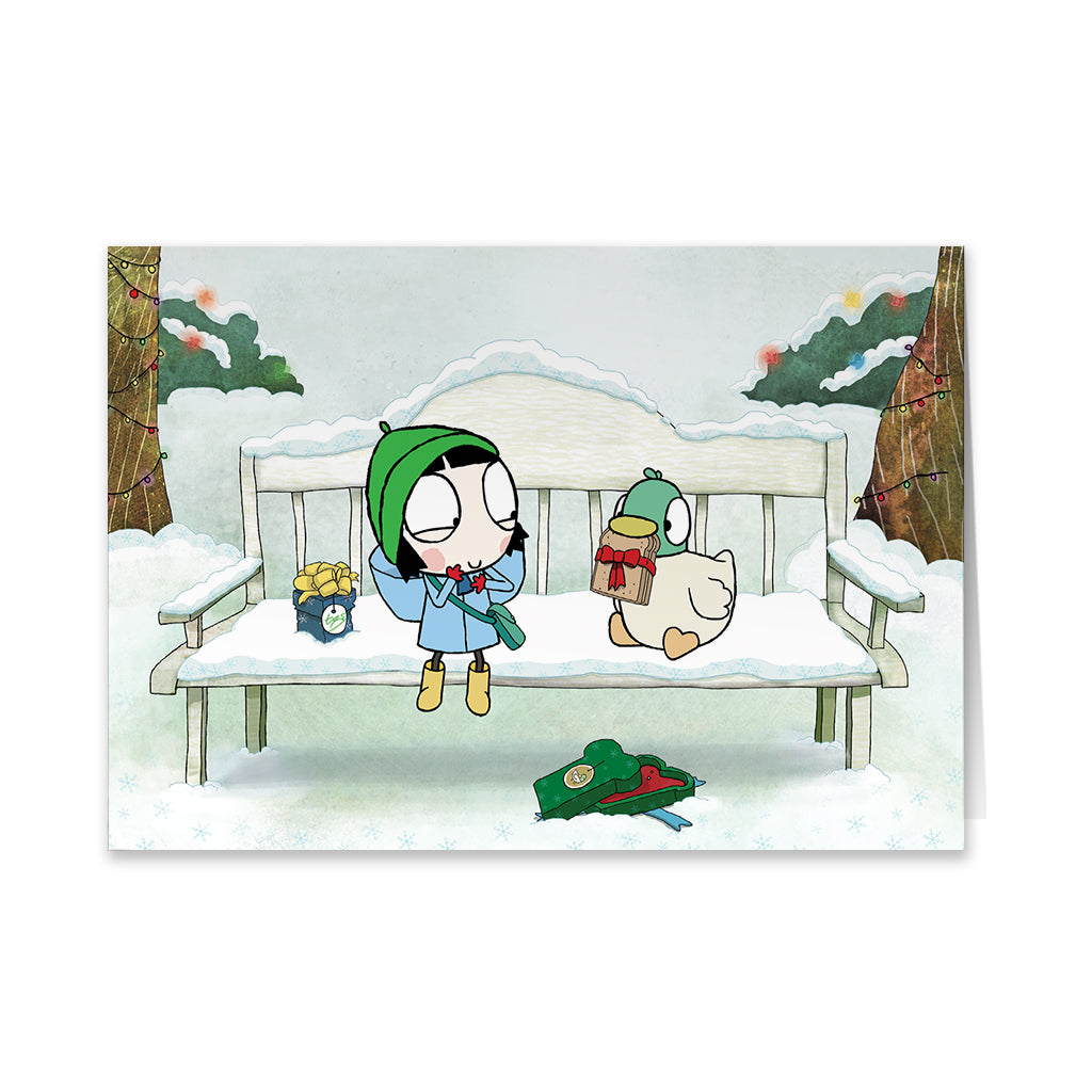 Sarah and Duck Snowy Bench Greeting Card
