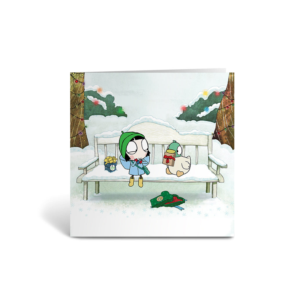 Sarah and Duck Snowy Bench Square Greeting Card