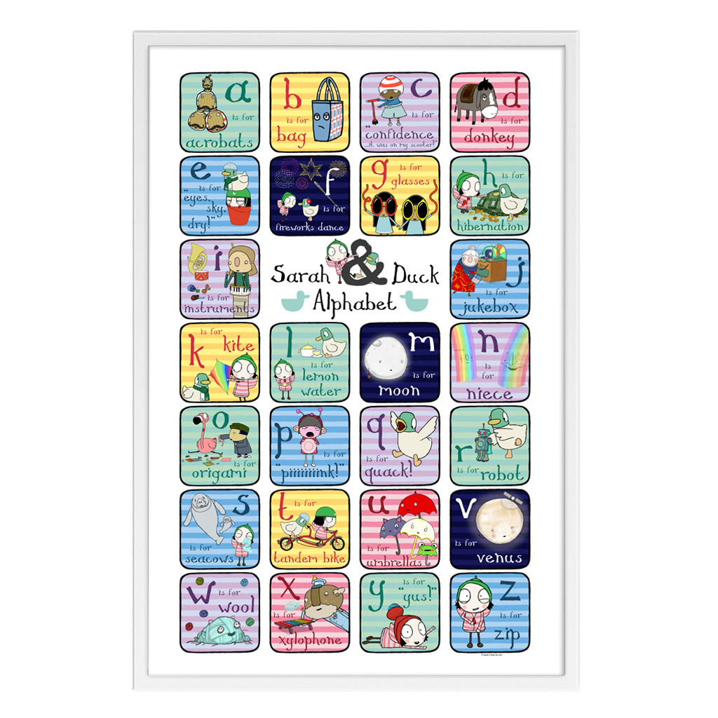 Sarah & Duck a-z Lowercase White Framed Art Print