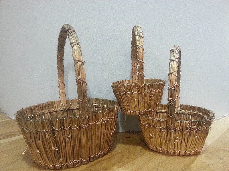 Oval Gold Twigs Baskets S/3