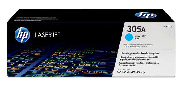 HP 305A (CE411A) Standard Yield Cyan Original LaserJet Toner Cartridge