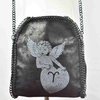 Disegno Mio womens  Aries 'Ariete' zodiac glitter printed black small chain crossbody bag