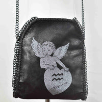 Disegno Mio womens Aquarius 'Acquario' glitter printed black small chain crossbody bag