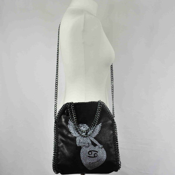 Disegno Mio womens Cancer 'Cancro' zodiac glitter printed black small chain crossbody bag