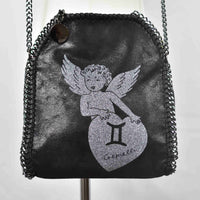 Disegno Mio womens Gemini 'Gemelli' zodiac glitter printed black small chain crossbody bag