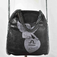 Disegno Mio womens Libra 'Bilancia' zodiac glitter printed black small chain crossbody bag
