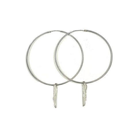 Sterling Silver Hoop and Wings Earrings - DISEGNO MIO