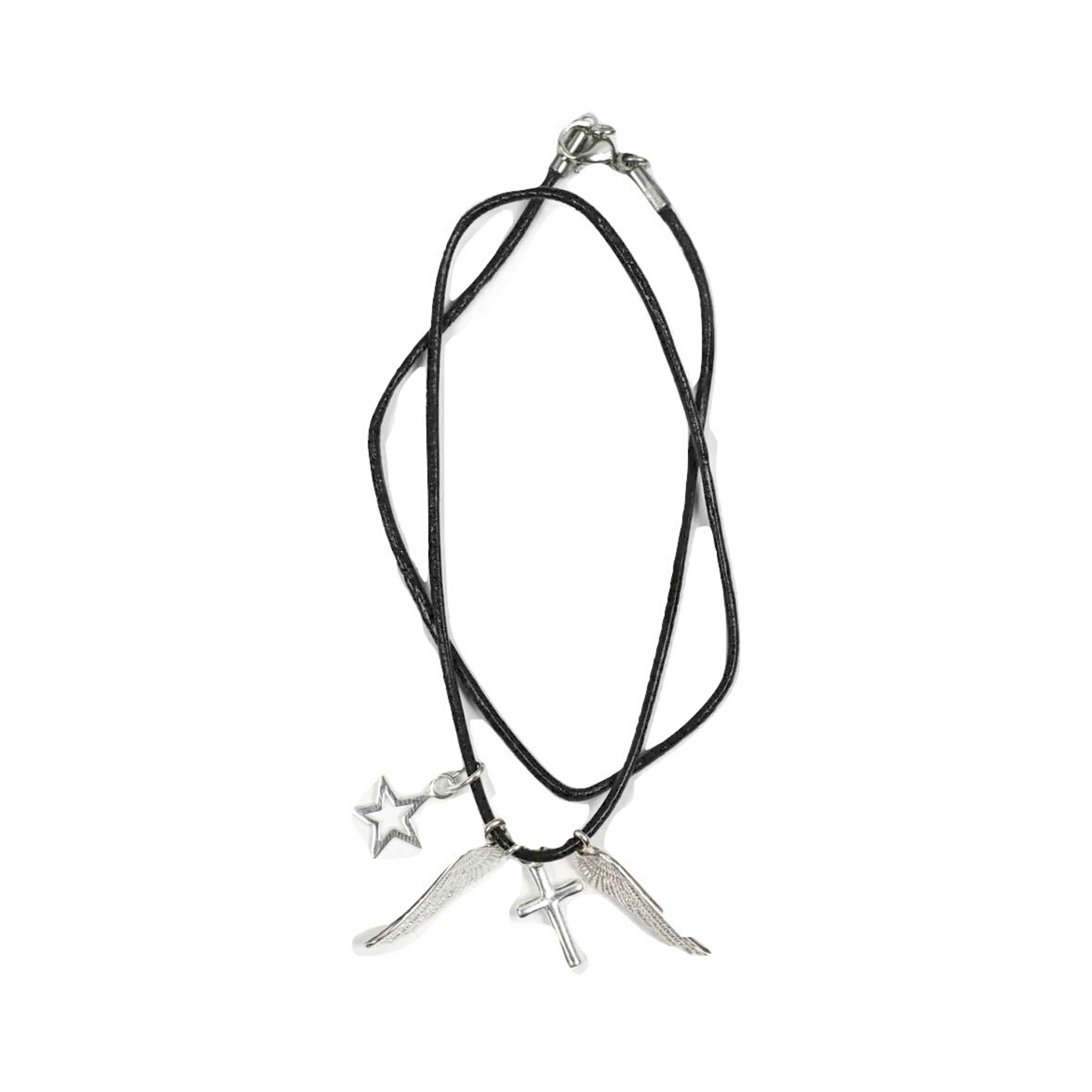 Wings, Cross and Star Double Wrap 1.5mm Leather Bracelet - DISEGNO MIO
