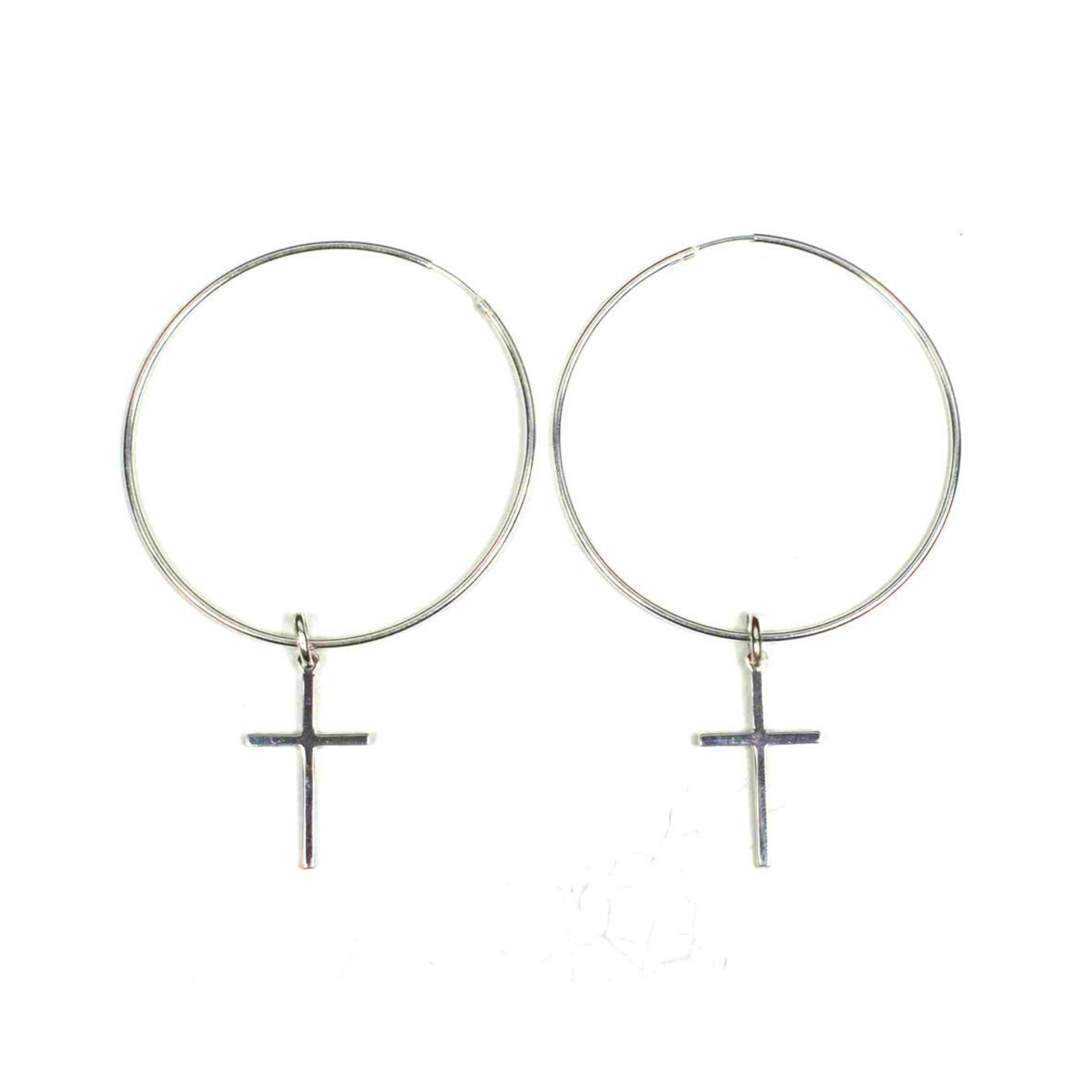 Sterling Silver Hoop and Cross Earrings - DISEGNO MIO