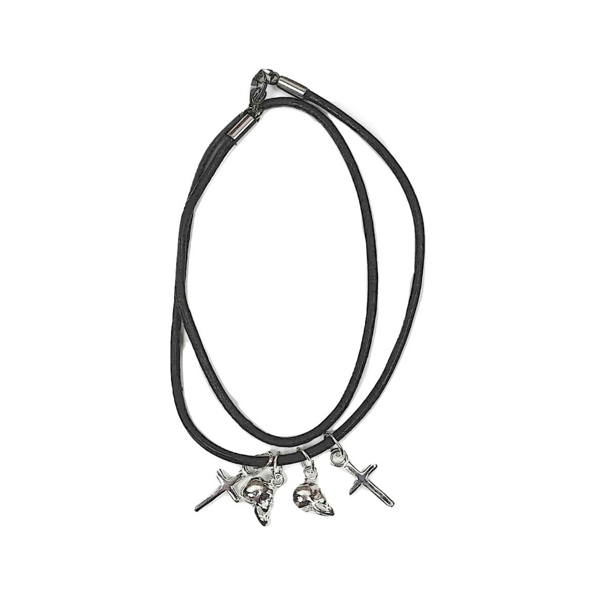 Cross and Skull Double Wrap 2mm Leather Bracelet - DISEGNO MIO