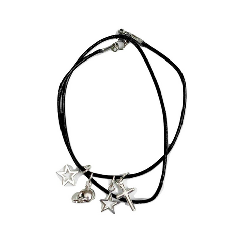 Stars, Cross and Skull Double Wrap 1.5mm Leather Bracelet - DISEGNO MIO