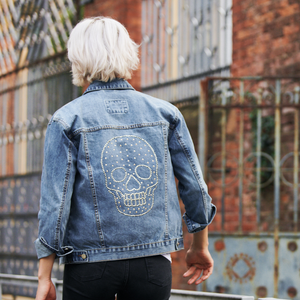Limited Edition Swarovski® Large Clear Skull Denim Jacket - DISEGNO MIO