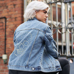 Disegno Mio Women's Limited Edition Swarovski® Large Clear Skull Denim Jacket