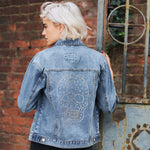 Disegno Mio Women's Limited Edition Swarovski® Large Chrome Skull Denim Jacket