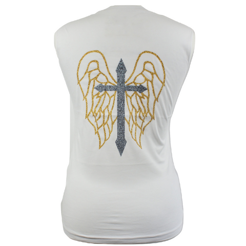 Limited Edition Cross & Wings White Tank - DISEGNO MIO