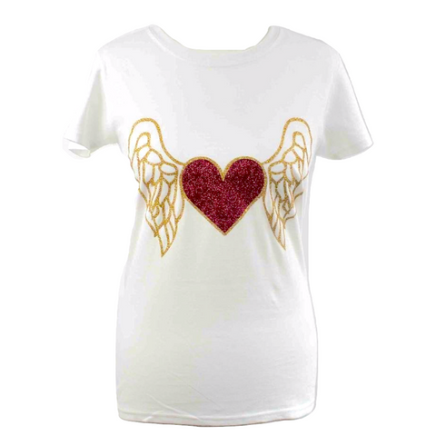 Limited Edition Heart & Wings White T-shirt - DISEGNO MIO