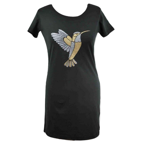 Limited Edition Hummingbird Black Dress - DISEGNO MIO