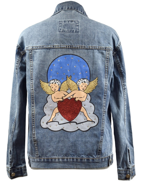 Disegno Mio Women's Limited Edition Printed Cherub Swarovski® Denim Jacket