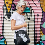 Disegno Mio women's Limited Edition cherub black chain small crossbody bag