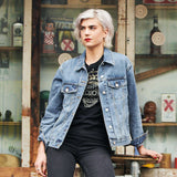 Disegno Mio Women's Limited Edition Swarovski® Chrome Skull Denim Jacket
