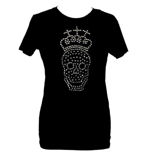 Limited Edition Chrome Swarovski® Crystal Skull Black T-shirt - DISEGNO MIO