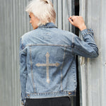 Disegno Mio Women's Limited Edition Swarovski® Clear Cross Denim Jacket