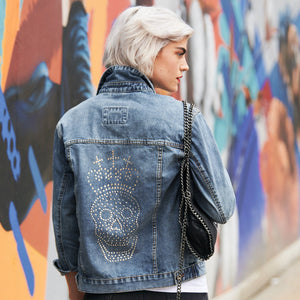 Limited Edition Swarovski® Clear Skull & Crown Denim Jacket - DISEGNO MIO