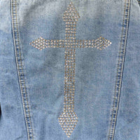 Disegno Mio Women's Limited Edition Swarovski® Crystal Cross Denim Jacket