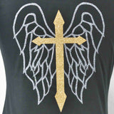 Disegno Mio Limited Edition glitter printed cross and wings black tank top