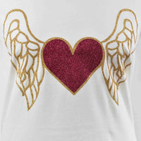 Disegno Mio women's limited edition heart and wings glitter printed white t-shirt
