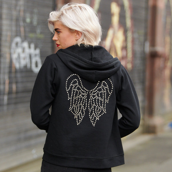 Disegno Mio Women's Limited Edition Swarovski® crystal angel wings black hoody