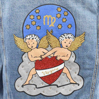Disegno Mio womens Virgo 'Vergine' printed mid wash denim jacket embellished with Swarovski® crystals