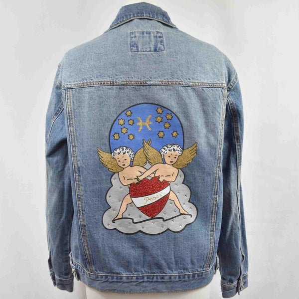 "Disegno Mio Womens Pisces ""Pesci' printed mid wash denim jacket embellished with Swarovski® crystals"