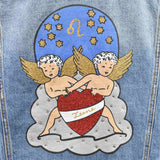 Disegno Mio womens Leo 'Leone' printed mid wash denim jacket embellished with Swarovski® crystals