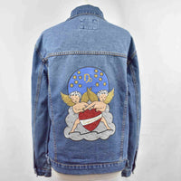 Disegno Mio Womens Capricorn 'Capricorno' printed mid wash denim jacket embellished with Swarovski® crystals