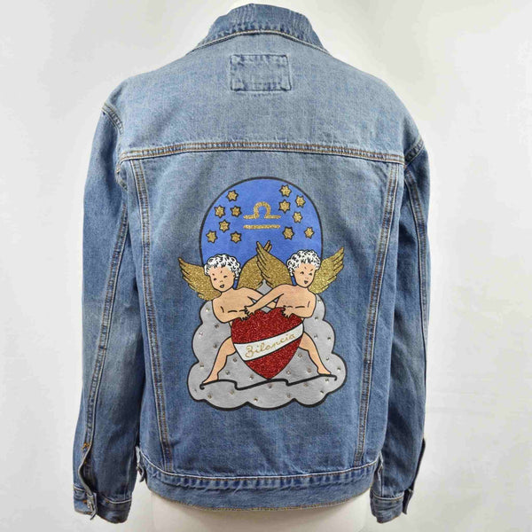 Disegno Mio womens Libra 'Bilancia' printed mid wash denim jacket embellished with Swarovski® crystals