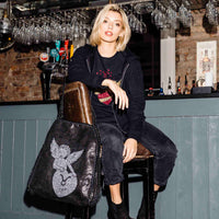 Disegno Mio Aries 'Ariete' glitter printed large black chain shoulder tote bag