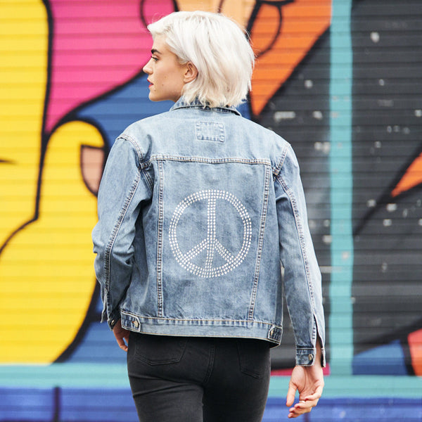 Disegno Mio Women's Limited Edition Swarovski® Peace Denim Jacket