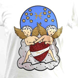 "Disegno Mio womens Pisces ""Pesci' printed white t-shirt embellished with Swarovski® crystals"