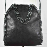 Disegno Mio womens Sagittarius 'Sagittario' glitter printed black small chain crossbody bag
