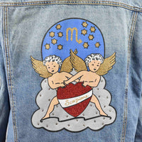 Disegno mio womens Scorpio 'Scorpione' printed mid wash denim jacket embellished with Swarovski® crystals